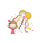 動く♪前髪短めな女の子のお祝いメッセージ(個別スタンプ:01)