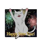 NEW YEAR 2018〜銀猫アルジャン(個別スタンプ:01)