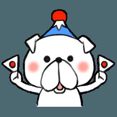 クリスマス・お正月に使う可愛い犬スタンプ
