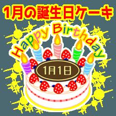 1月の誕生日★ケーキでお祝い★日付入り