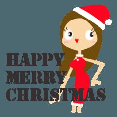 クリスマス用キレイなお姉さんスタンプ