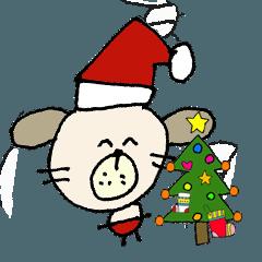 わん吉 冬の生活!クリスマス 新年の挨拶