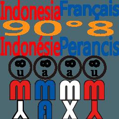 90°8 フランス語。インドネシア語