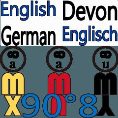 90°8 ドイツ語。 英語