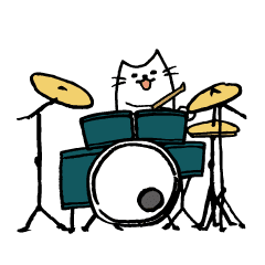 ドラマーのための動くドラムねこスタンプ