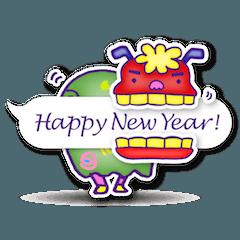 動く! 年賀 お正月用 年賀状スタンプ 2018
