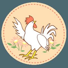 鶏の挨拶スタンプ