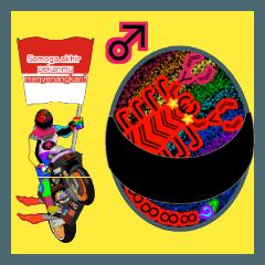 Moto Race Rainbow-colored Riders 96 @06