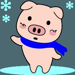のんき豚の「豚丸」冬生活