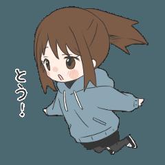 ぱーかーポニーテール女子