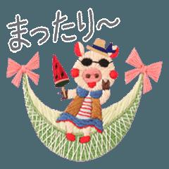 [LINEスタンプ] ciciréチチレ-動物刺繍①