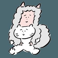 [LINEスタンプ] 仲良しなアルパカとネコ