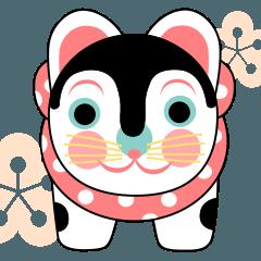 張り子のこま犬ピンク