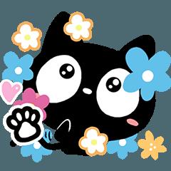 クロネコと花【感情・簡単返信編】
